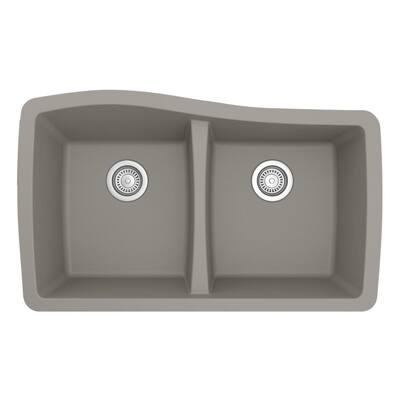 Undermount Quartz Composite 33 in. 50/50 Double Bowl Kitchen Sink in Concrete