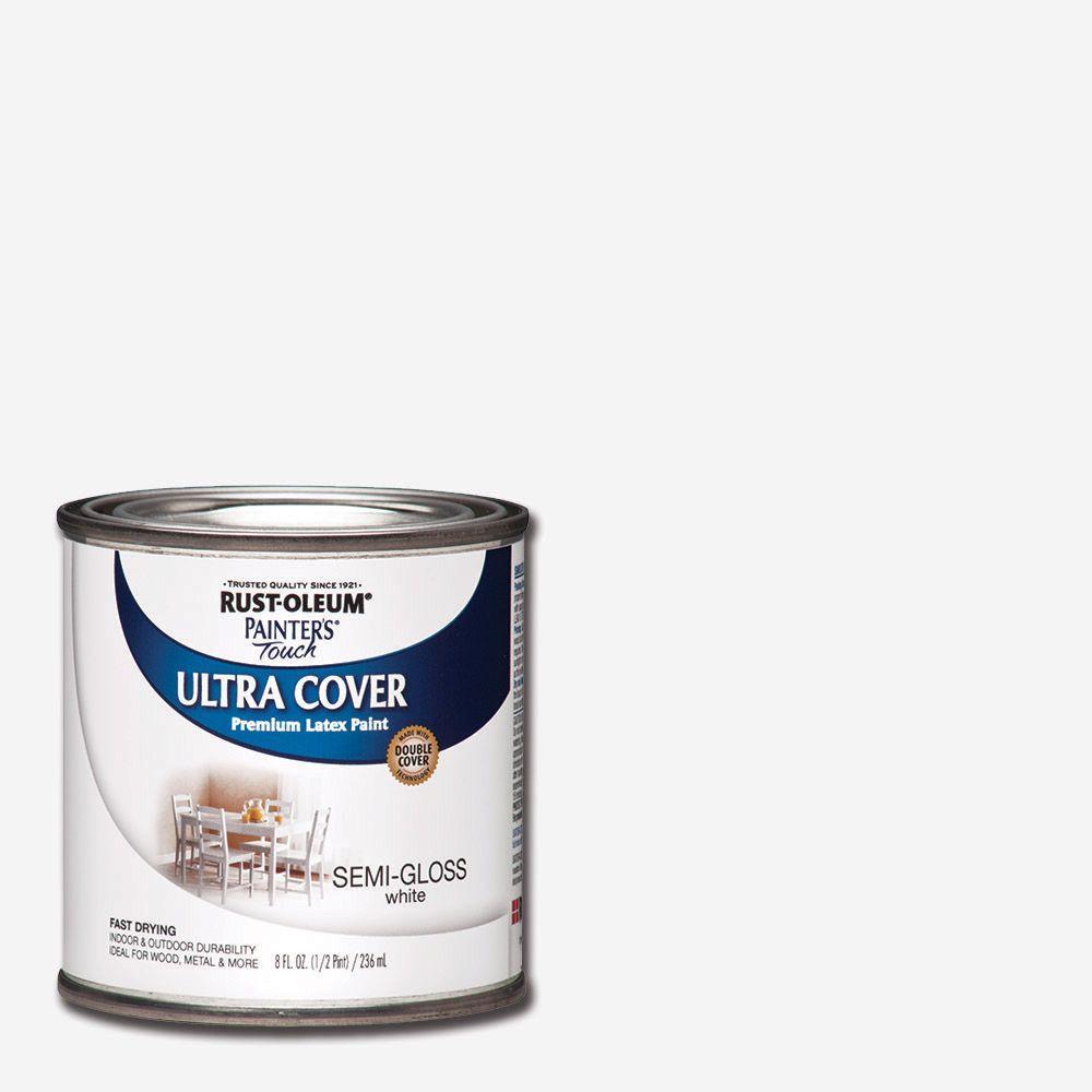 8 oz. Ultra Cover Semi-Gloss White General Purpose Paint