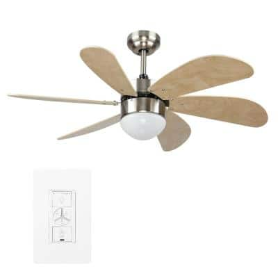 Minimus 38 in. Indoor Silver Smart Ceiling Fan with Light Kit and Wall Control, Works with Alexa/Google Home/Siri