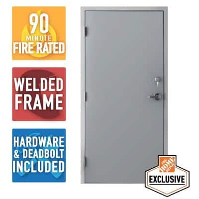 36 in. x 84 in. Fire-Rated Gray Right-Hand Flush Steel Prehung Commercial Door with Welded Frame, Deadlock and Hardware