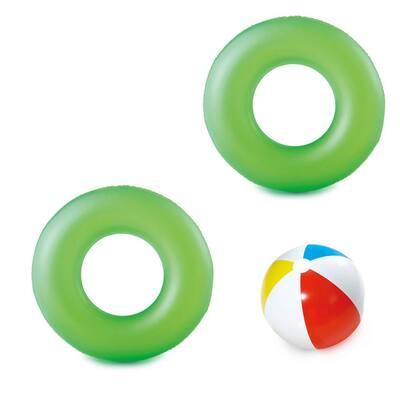 42 in. Dia Neon Green Swim Tube and 14 in. Dia Beach Ball Set (Includes 2 Swim Tubes and 1 Beach Ball)