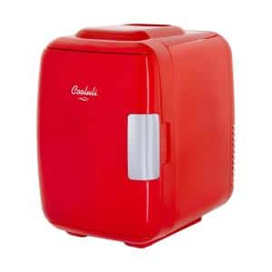 Classic 0.14 cu. ft. Retro Mini Fridge in Red without Freezer