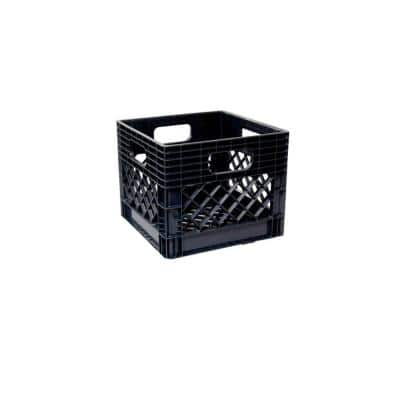 11 in. x 13 in. x 13 in. 16-Qt. Polypropylene Milk Crate Storage Box in Black