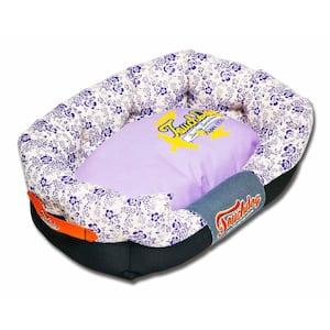 Medium Lavender Purple and Cream White Bed