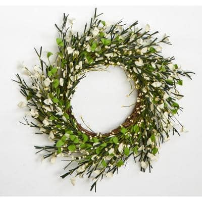 20 in. Small Flower and Berry Twig Wreath