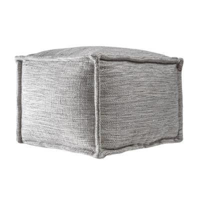 Sofia Casual Solid Indoor/Outdoor Filled Ottoman Gray Square Pouf