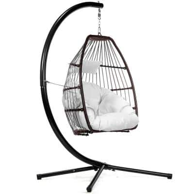 Wicker Egg-Shaped Patio Swing Chair with White/Cream Cushion and Heavy-Duty Frame