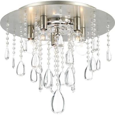 Anjoux Collection 5-Light Silver Ridge Flush Mount