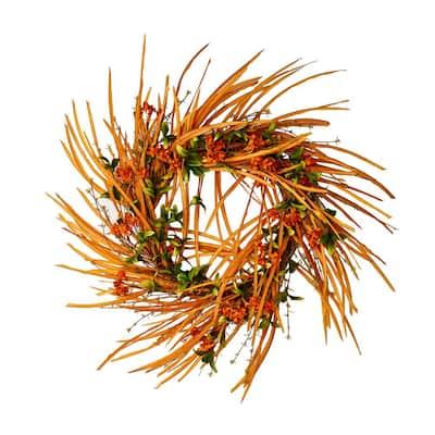 22 in. Paper Flower/Leaves Wreath