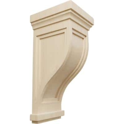 8 in. x 7-1/2 in. x 17 in. Unfinished Wood Rubberwood Charleston Mission Corbel