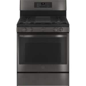 Profile 30 in. 6.4 cu. ft. Gas Range with Self-Cleaning Convection Oven and Air Fry in Black Stainless Steel