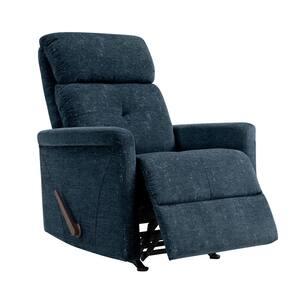 Navy Blue Textured Chenille Rocker Recliner Chair
