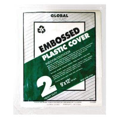 9 ft. x 12 ft. 2 mil Embossed Plastic Drop Cloth (24-Pack)