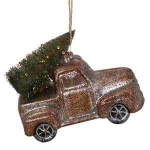 5 in. Old Fashioned Country Pick Up Truck Glass Christmas Ornament
