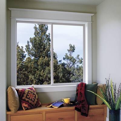 59.5 in. x 59.5 in. V-2500 Series White Vinyl Left-Handed Sliding Window with Fiberglass Mesh Screen