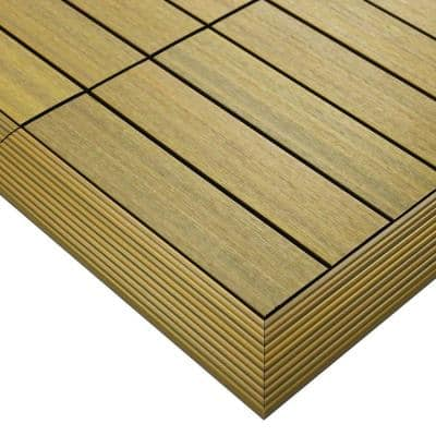 1/6 ft. x 1 ft. Quick Deck Composite Deck Tile Outside Corner Fascia in English Oak (2-Pieces/Box)