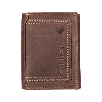 Mens Leather Brown Detroit Trifold Wallet