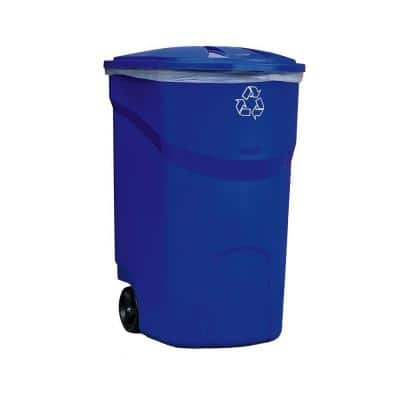 Roughneck 45 Gal. Blue Wheeled Recycling Trash Container (2-Pack)