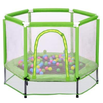 55 in. Trampoline with Safety Enclosure Net and Balls for Kids