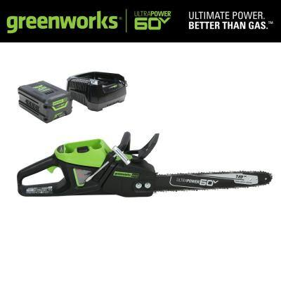 PRO 18 in. 60-Volt Battery Cordless Chainsaw with 4.0 Ah Battery and 6.0 Amp Charger