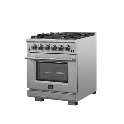 Capriasca 30 in. 4.32 cu. ft. Gas Range with 5 Gas Burners Oven in Stainless Steel