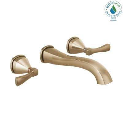 Stryke 2-Handle Wall Mount Bathroom Faucet Trim Kit in Champagne Bronze (Valve Not Included)