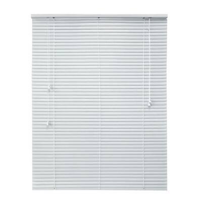 Cut-to-Width White 1 in. Room Darkening Aluminum Mini Blind - 42 in. W x 64 in. L