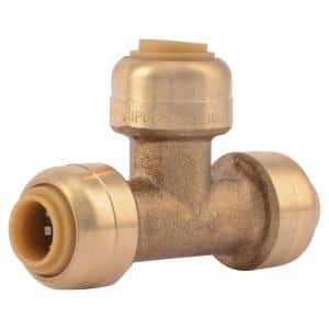 1/4 in. (3/8 in. O.D.) Push-to-Connect Brass Tee Fitting