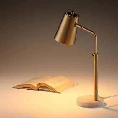 20 in. Antique Brass Task Lamp Adjustable Table Lamp with Natural Marble Base