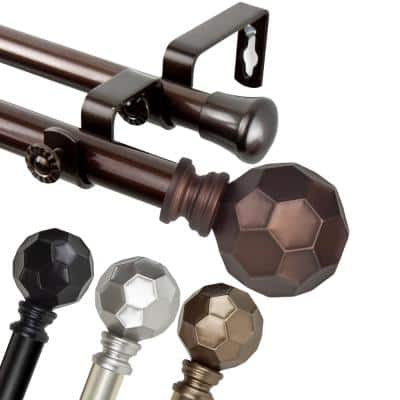 28 in. to 48 in Adjustable 13/16 Dia Double Curtain Rod in Cocoa with Elliana Finials