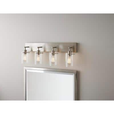 Regan 29.13 in. 4-Light Brushed Nickel Bathroom Vanity Light with Clear Glass Shades