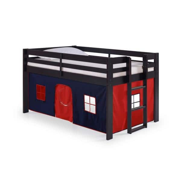 Alaterre Furniture Jasper Espresso with Blue/Red Playhouse Tent Twin Junior Loft Bed | The Home Depot