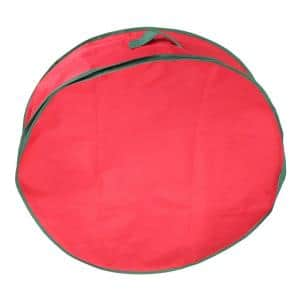 24 in. Red and Green Christmas Wreath Storage Bag