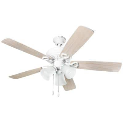 3-Light 42 in. Indoor White Wood Ceiling Fan With Light Kit
