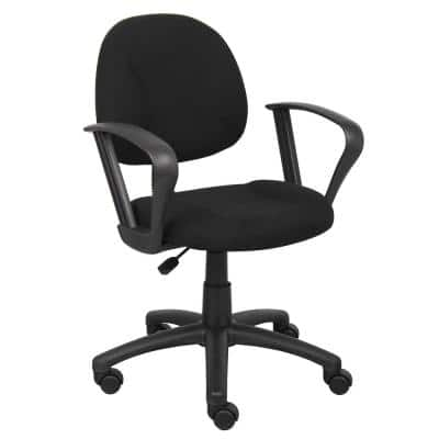 25 in. Width Big and Tall Black Fabric Task Chair with Swivel Seat