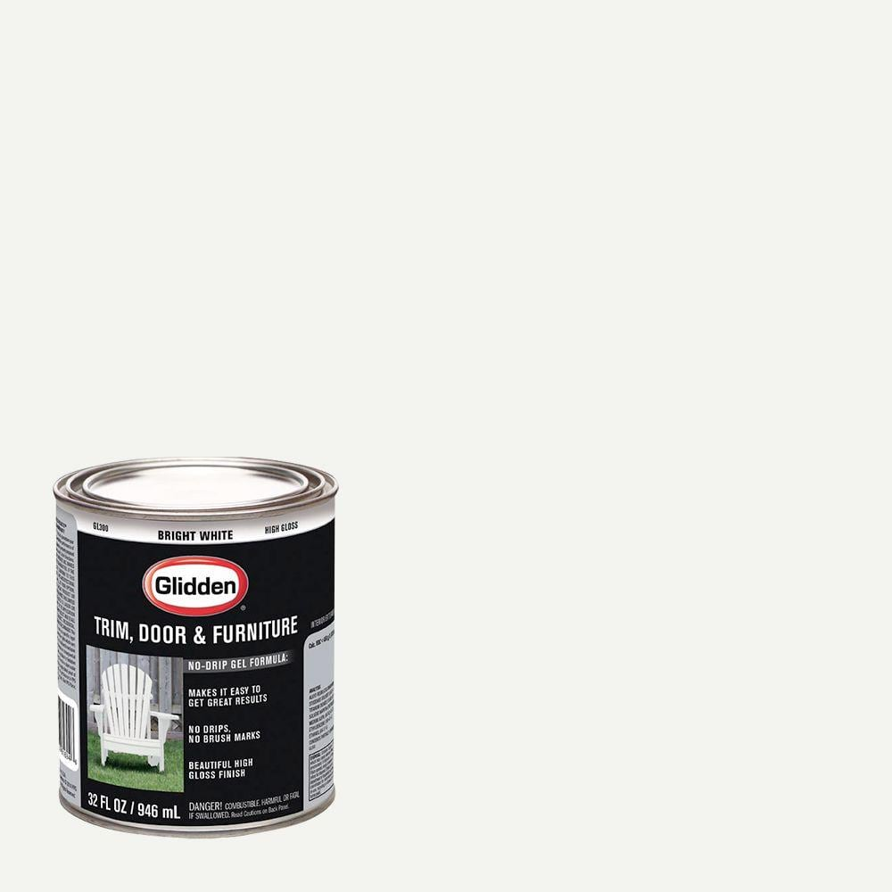 Glidden Trim and Door 1 qt. Bright White Gloss Interior/Exterior Oil Paint