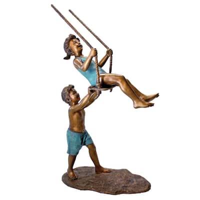 66 in. H Swinging Children Solid Cast Bronze Garden Statue