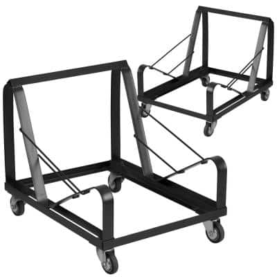 440 lbs. Capacity Stack Chair Dolly with Wheels - Black (Set of 2)