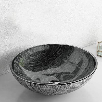 Artistic Gray Glass Round Vessel Sink with Pop-Up Drain