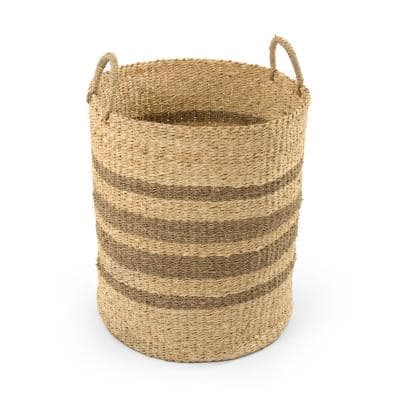 Cylindrical Handmade Woven Wicker Seagrass Palm Leaf Wire Large Basket with Stripes and Handles