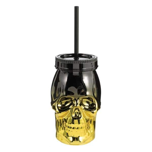 Amscan 4.5 in. Halloween Metallic Plastic 16 oz. Skull Cup with Straw (3-Pack)