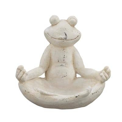 13 in. White Meditating Frog Polystone Sculpture