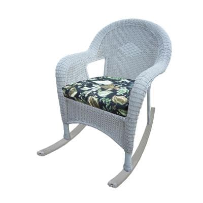 White Wicker Outdoor Rocker with Black Floral Cushion (2-Pack)