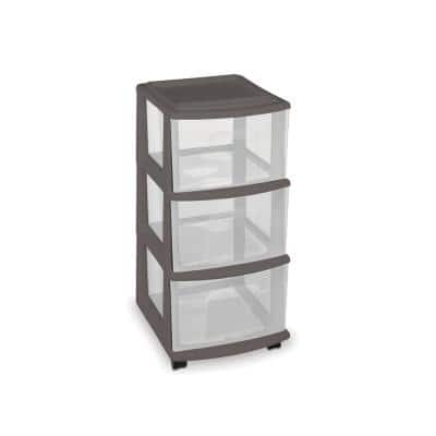 25.5 in. x 14.25 in. 3-Drawer Medium Cart in Gray with Wheels (Set of 3)