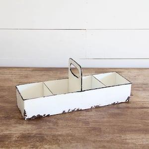 White Rustic Enamel Slotted Decorative Tray