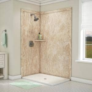 Elegance 36 in. x 48 in. x 80 in. 7-Piece Easy Up Adhesive Corner Shower Wall Surround in Alaskan Ivory