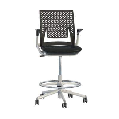 Thesis Black Flex Back Stool with Arms