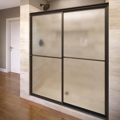 Deluxe 59 in. x 71-1/2 in. Obscure Framed Sliding Shower Door in Oil Rubbed Bronze