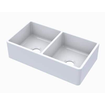 Turner Crisp White Fireclay 33 in. 50/50 Double Bowl Farmhouse Apron-Front Kitchen Sink
