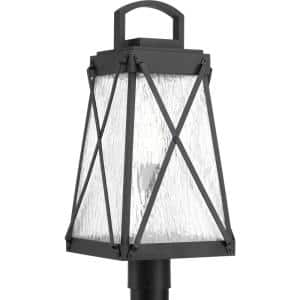 Creighton Collection 1-Light Textured Black Clear Water Glass Farmhouse Outdoor Post Lantern Light